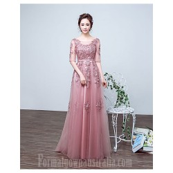 Australia Formal Dress Evening Gowns Pearl Pink A Line Jewel Long Floor Length Lace Dress Tulle